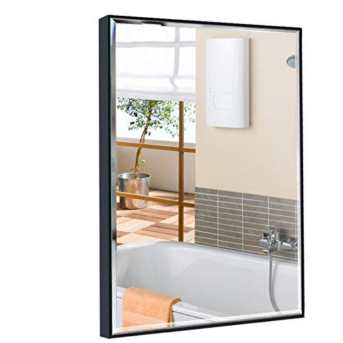 Calenzana 24x36 Wall Mirror with Black Frame, Explosion-Proof Beveled Hanging Mirrors for -