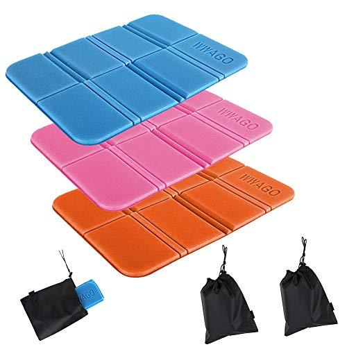 Grneric Alfombrilla para Asiento al Aire Libre, Plegable Almohadilla Cojines, Alfombrilla para Asiento portátil Impermeable XPE de 3 Piezas para Camping (Naranja + Azul + Rosa)