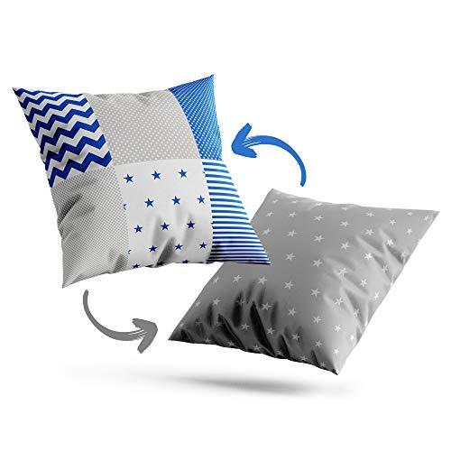 Funda cojin 60x60 - Funda Almohada Bebe de algodón Fundas de Cojines Decorativos para niños cojin Infantil Azul Blanco Gris