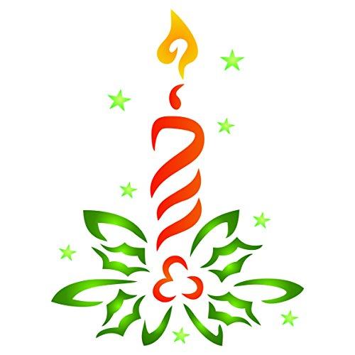 Candela stencil–riutilizzabile stencil template per progetti fai da te Cards decorazioni di Natale–da usare su carta scrapbook Bullet Gazzetta muri pavimenti tessuto mobili in vetro legno ecc.