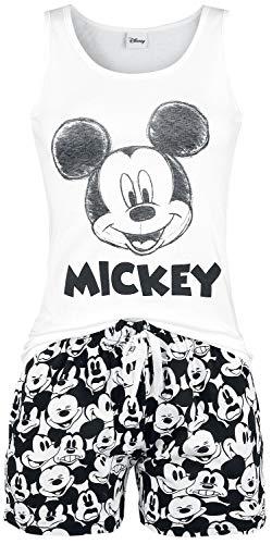 Micky Maus Face Frauen Schlafanzug weiß/schwarz L