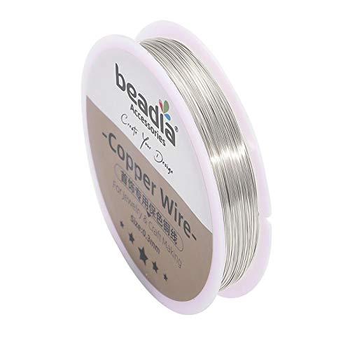 YJZZ Beading Wire0.3-0.8mm Plata/Oro Alambre de Cobre joyería Cuerda Cuerda Colorfast Beading Wire Metal Hilo for la Pulsera de Bricolaje Collar Artesanal (Color : Plata, Talla : 0.3mm 50meters)
