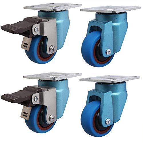 ZHXY Ruedas 4 PCS Muebles Ruedas de Goma para Ruedas Servicio Pesado 2 Pulgadas Freno Giratorio Universal 50 mm 200 kg Silencio para Vitrina de Carro Azul Uso a Largo Plazo Freno Universal,Universal