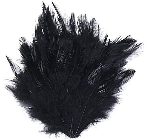 Ogquaton Plumas de Gallo Pluma Pluma Costura Craft Quill Plumas artesanales para Disfraces Varias artesanías Fiestas de cumpleaños Vestir para la Boda y la Fiesta 50 Piezas Negro