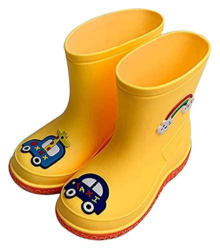 Botas de lluvia para mujeres Botas para niños y niñas Botas de lluvia Dibujos animados de niños Cuatro botas de lluvia Estudiante Estudiante Agua antideslizante Zapatos, Amarillo Botas de jardinería