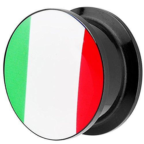 Piersando Piercing Ohr Plug Flesh Tunnel Fahne Motiv Fussball EM & WM Länderflagge Fanartikel Land Flagge Schmuck Italien 20mm