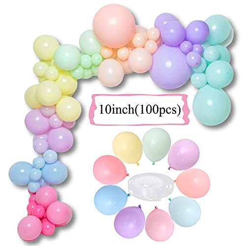 100pcs Balloons for Party, 10inch Balloon Arch Balloons Garland Kit, Big Thick Latex Balloons Mixed Color Pastel Balloons for Birthday Wedding Reception Engaged Baby Bridal Gift Party Decorations