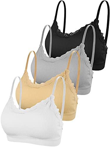 CMTOP Sujetador Deportivo para Mujer sin Costuras Cuello en V Bra Push Up con Almohadillas Extraíbles Sujetador de Camisola Ropa Interior para Yoga Fitness(Combinación C,Talla única)