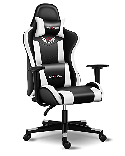 Shuanghu Gaming Chair Office Chair Ergonomic Computer Chair with Footrest Reclining Racing Chair with Headrest and Lumbar Support Gaming Chair for Adults Men Women Teens Desk Chair (White)