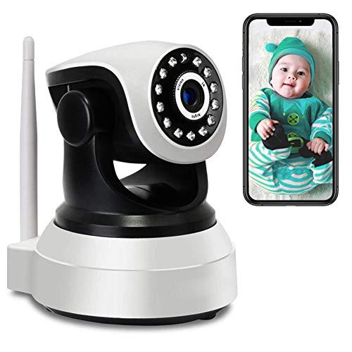 Monitor de Bebé PTZ Cámara 1080P HD WiFi Vigilancia IP Cámara de Vigilancia Interior,Audio Bidireccional,HD IR Visión Nocturna,Control APP,Email Alarm,Alarma de Movimiento 【Cámara+64G-TF-Tarjeta】