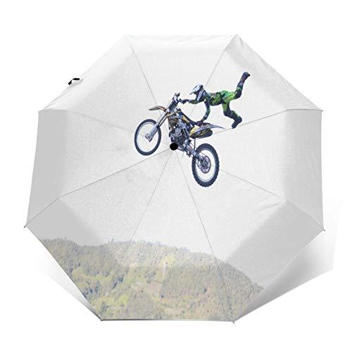 Paraguas Plegable Automático Impermeable Paseo en Moto en Bicicleta, Paraguas De Viaje...