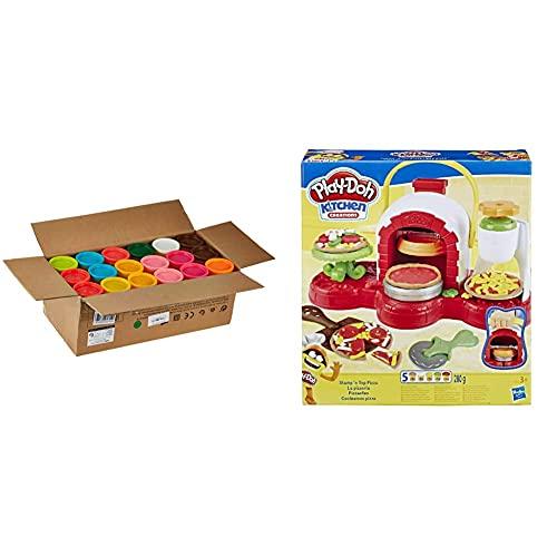 Hasbro Play-Doh- Play-Doh Mega Pack da 36 Vasetti, 36834F02 & Play-Doh Pizzeria (playset con 5 vasetti di pasta da modellare), Multicolore