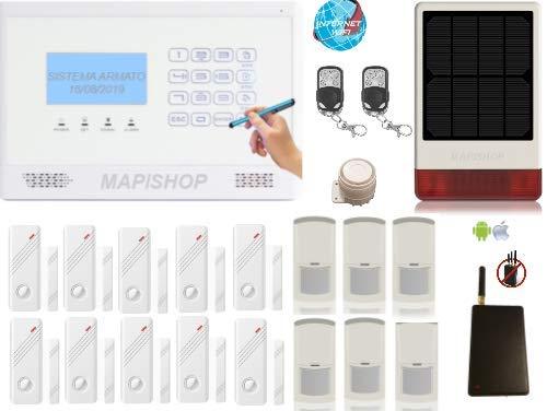 Mapishop CLARENCE Allarme Casa Kit nuovo modello 2020, Con INTERNET wifi , e MODULO ANTI-JAMMER , COMPLETAMENTE CONFIGURATO (CLAR b 3solar )