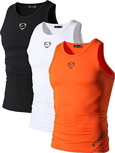 jeansian Herren Sportswear 3 Packs Sport Quick Dry Compression Tank Tops Vests Shirt LSL3306 PackC L