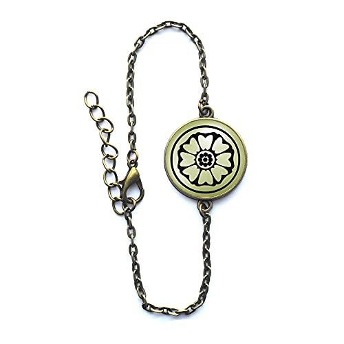 Pulsera de loto, brazalete de loto blanco, pulsera de loto blanco, pulsera de flores, brazalete de loto blanco, loto, pulsera # 71