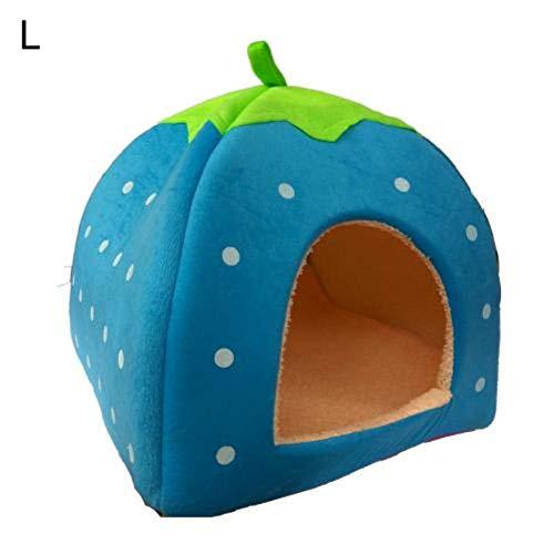 Liang Hundehütte / Katzenbett, Erdbeer-Design, zusammenklappbar, himmelblau, Large
