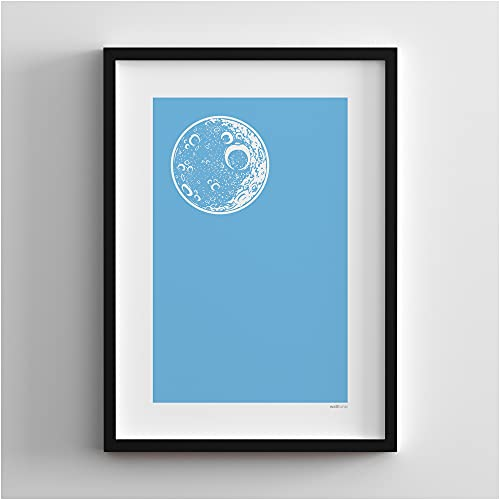 walltonic - Manchester Man City FC Football Club 'Blue Moon' Minimalist Wall Art Print Poster Gift - Unframed - Size A3