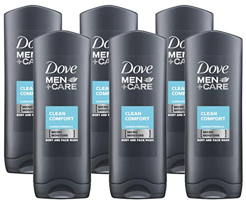 Dove Men Care Body & Face Wash, Clean Comfort - 13.5 Fl Oz / 400 mL X 6 Pack Case, Made in Germany
