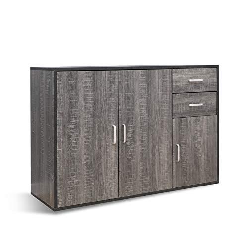 Mondeer Sideboard Kommode 3 Türen 2 Schublade Mehrzweck Spanplatte für Küche Wohnzimmer Grau, 106(L) x 36(B) x 74(H)
