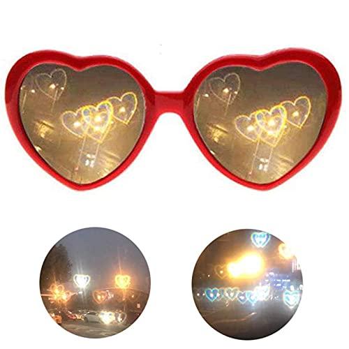 DGFgfgh Gafas de Efecto Especial 3D en Forma de corazón Lente de Gafas Grises de Dibujos Animados con Luces cambiantes a Forma de corazón Efecto Especial Color Opcional Gran Regalo B