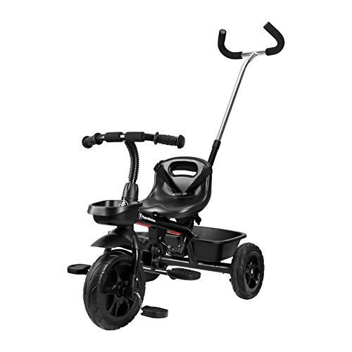 HyperMotion Tricycle Bébé Evolutif 1-5 Ans (20 KG Max) | Poussoir Réglable, Ceinture de sécurité, Siège Confortable, Roues Larges Increvables, Léger (Vélo 5,7Kg) Tobi Vector Noir