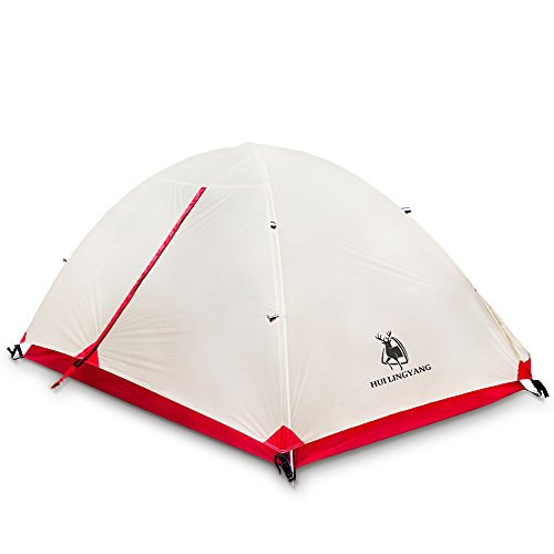 WENTAO Tent For Campingtwo People Double Layer 15D Silicone Fabric 7001 Aluminum Rod 7.9Mm Lightweight Rainproof Camping Tent + Accessories Net Weight 2.0Kg Creamy-White