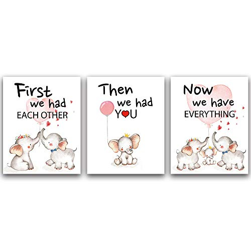 """CHIEN-CHI LILI Lovely Balloon Baby Elephant Family Watercolor Art Print Set of 3 (8""""X10""""), Cute Animals Love Quote Wall Art Poster, Living Room Bedroom Home Decor Nursery Art Canvas"""