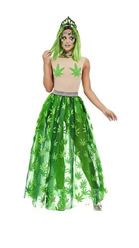 shoperama Disfraz de mujer de Cannabis Queen Body Falda de tul, tiara cáñamo The Ganja, estilo playa, despedida de soltera, talla M
