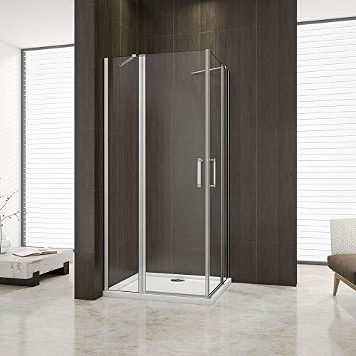 hoek-instap douchecabine 90x90x185cm, dubbele draaideur,douchescherm,douchedeur,mat aluminium profiel,5mm helder veiligheidsglas