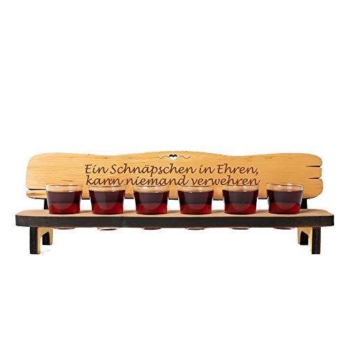 6er Schnapsbank aus Holz mit kostenloser Gravur + 6 Schnapsgläser + Gravur auf Holzbank - mit Deinem Wunsch-Text graviert - personalisierte Geschenkidee