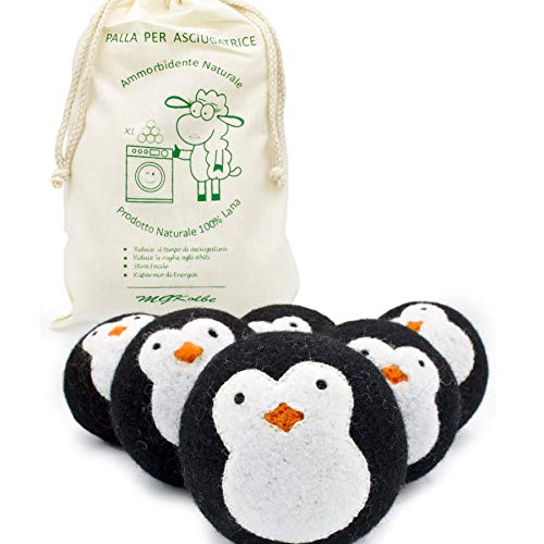 MGKolbe - Bola para secadora de lana 100%, hipoalergénica, perfumador de aceites esenciales, natural, reutilizable, suavizante. Juego de 6 pelotas blanco o blanco con corazón o negro con pinguino.