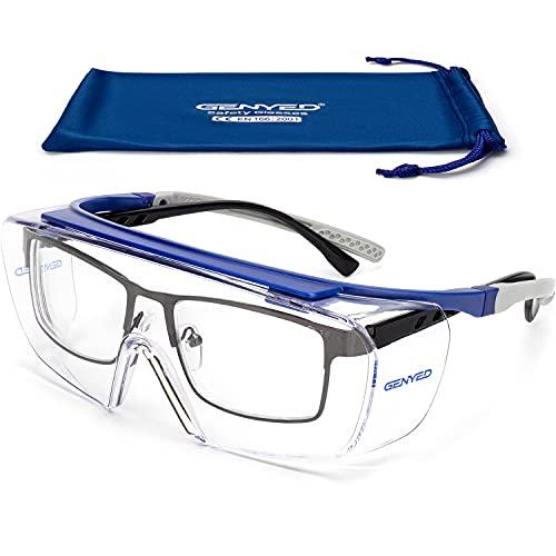 GENYED® Cubregafas Protectoras, Gafas Proteccion, Certificación CE EN166, Gafas de Seguridad con Lente Antirrayado y Antivaho, UV400, Patillas Ajustables, Envolventes, Aptas para Gafas Graduadas