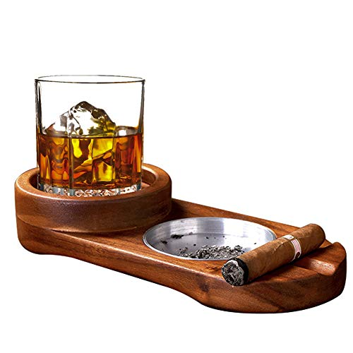 Cigar Ashtray Coaster/Whiskey Glass Tray and Cigar Holder, Wooden Cigar Ashtray, Slot to Hold Cigar, Cigar Rest, Cigar Accessory Set Gift for Men/ Round
