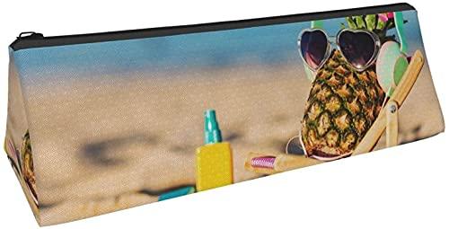 Bolsa de lápices con forma de pluma y bacil, para la playa, divertida, diseño de gafas de pino, triángulo, duradero, portátil, caja de almacenamiento de papelería