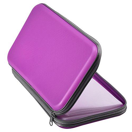 Zerone CD Case, 80 Capacity Heavy Duty CD Wallets VCD DVD Disc Storage Case Bag Organizer Holder Black(Pink)