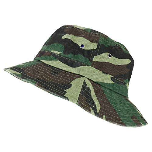 Trendy Apparel Shop Oversize XXL - XXXL Short Brim Outdoor Bucket Hat - Camo - 2XL-3XL