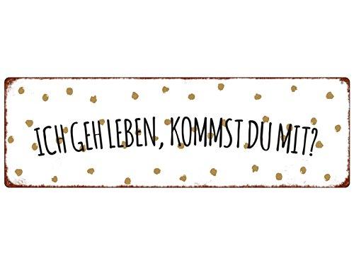 Interluxe METALLSCHILD Blechschild ICH GEH Leben, KOMMST DU MIT Lebensfreude Spruch