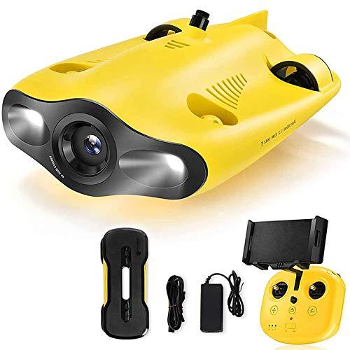 QQ HAO Drone Sottomarino, Fotocamera Subacquea di 4K UHD, Immergersi A 330FT, Blocco Integrale Regolabile, Fish Finder, Supporto Telecomando E Telecomando Dell app