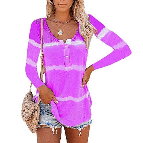 Herbstliche Frauen Tie-Dye Bedruckten Knopf LangäRmeligen T-Shirt Frauen