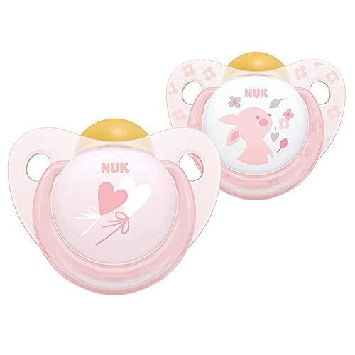 Nuk Bebé Rosa Látex 2 Pack de Chupetes sin Bpa Edad 6-18m