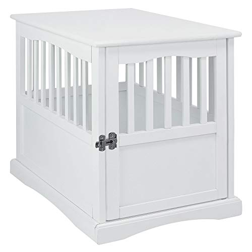 Casual Home Wooden Medium Pet Crate, End Table, White