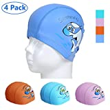 COOLOO Kids Swimming Cap, 4 Pack Swim Hat Breathable Ear Wrap No-Slip Protection Children with PU Coating...