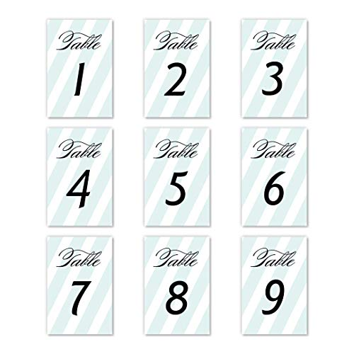 "Blue Mint Stripe Table Numbers 25 Pack Reserved Seats Décor All Occasion Celebration Elegant Single Sided 4"" x 6"" Set Birthday Parties Office Coworker Retirement Anniversary Banquet DB Party Studio"