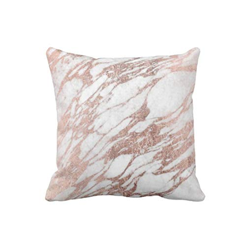 perfecone Home Improvement Pillowcase Chic Elegant White and Rose Gold Marble for Sofa and car Pillow case 1 Pack 20 x 20 inches/50 cm x 50 cm