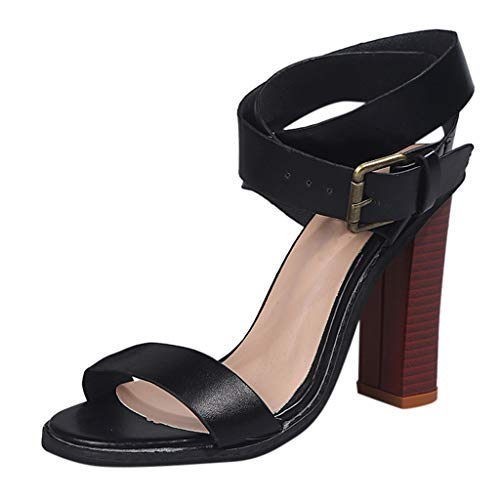 HunYUN Women's Summer Open Toe Shoe Square High Heels Ankle Buckle Sandals Fashion Lady Shoe Suitable for All Occasions