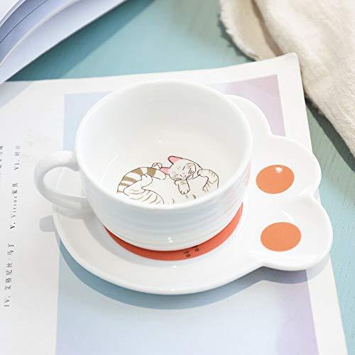 YDGHD Creative Cat Paw - Juego de taza de cerámica con diseño de huellas de gato, diseño de gatito de dibujos animados, tazas de café y leche para niños, taza de oficina, cocina (rayas amarill)