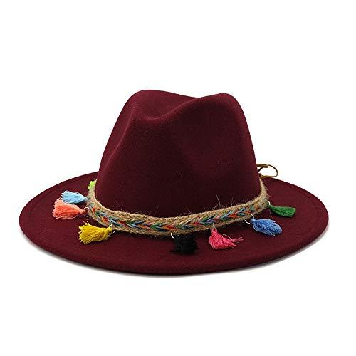 JUFENGYAO 2020 Refinado del algodón del otoño Invierno de Fedora del Fieltro del Caballero del Sombrero descomunal de la Mujer Sombrero de ala Ancha de la Borla (Color : Vino Rojo, Size : 59-60cm)