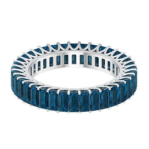 Anillo de eternidad con piedras preciosas, 3,02 ct, 2 x 4 mm, topacio azul, forma de baguette, anillo de la piedra natal de diciembre, 18K Oro blanco, Size:EU 50