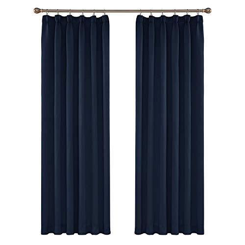 UMI. by Amazon - Cortinas de Salon Modernas para Ventana Dormitorio Termicas Aislantes con Bolsillo Fruncido 2 Piezas 140 x 245 cm Azul Marino