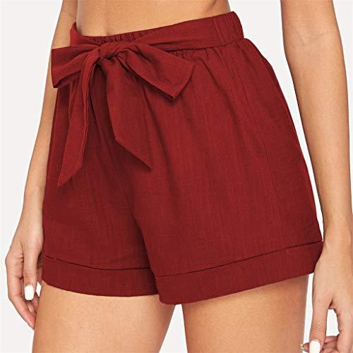 Dasongff Damen Sommer Shorts Kurze Hose mit Schleife zum binden Bermuda Uni-Farben Elastische High Waist Hotpants Teenager Mädchen Tasche Lose Hot Pants Casual Fit Strandhosen